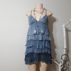 BEBE BLUE RUFFLED SEQUIN & EMBROIDERED DRESS!